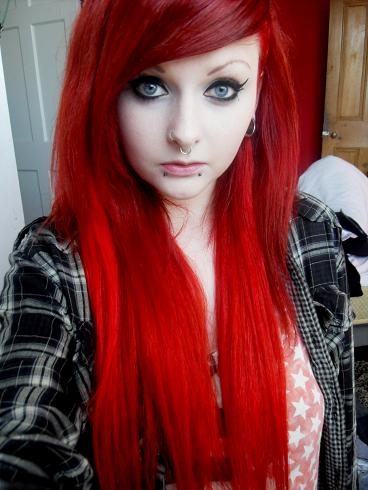 Girl With Long, Straight, Bright Red Hair, Wearing ...