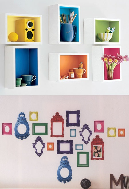 Rainbow Wall Shelves And Picture Sticker Frames