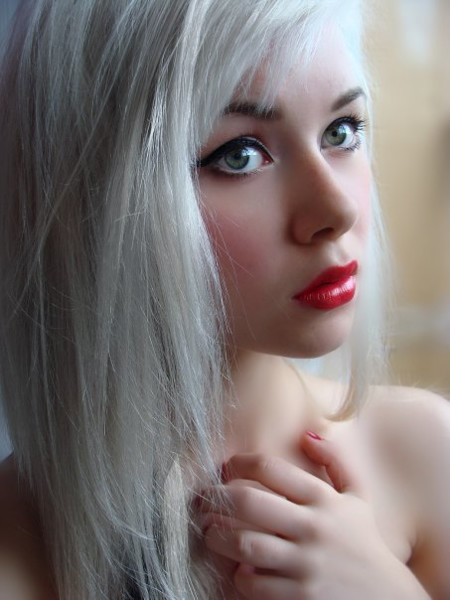 Girl With White Hair & Red Lips   Cherry Ambition