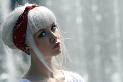 Girl With White Hair Updo Bangs Tied Up With A Red Bandana