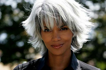 halle berry with short white gray hair as storm in the x men movies cherry ambition